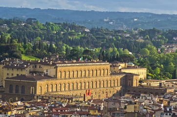Aerial telephoto view of Florence from a tower, Tuscany