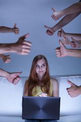 Girl living in virtual world