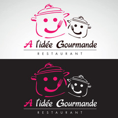 restaurant restauration cantine toque fourchette logo