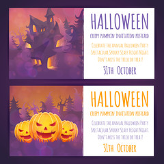 Set of Halloween banners with spooky haunted house