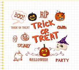 set of cute halloween elements