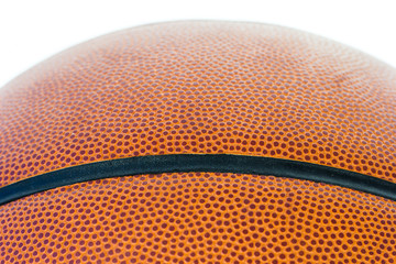 Close up basketball on a white background