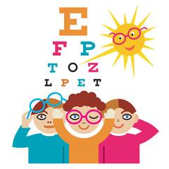 Children at the eye doctor.