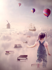 Search for knowledge. Girl walking down book pass above clouds