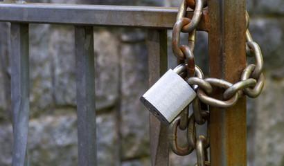 Metal padlock and chain