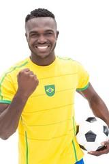 Close up of Brazilian football fan cheering