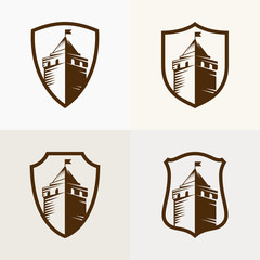 castle fortress on shield, vector icon illustration
