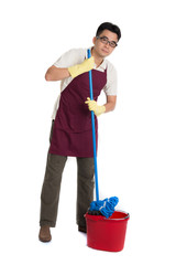 chinese male janitor or house husband cleaning isolated on white