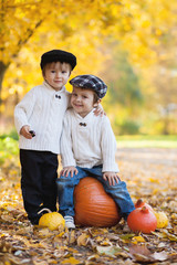 Two boys in the park, sitting on a big pumpkin, smiling