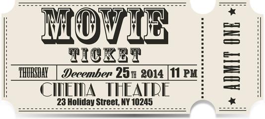 Retro movie vector ticket