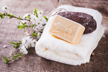 Natural soap with honey.