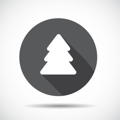 Christmas Tree  Flat Icon with long Shadow. Vector Illustration.