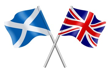 Flags: Scotland and United Kingdom