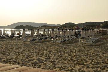 Strand mit angeordneten Liegestühlen