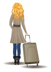 Blonde Woman with Suitcase