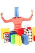 canvas print picture - attraktive Frau mit vielen Einkaufstüten