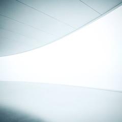 White interior with wide luminous screen