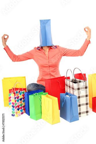 canvas print picture attraktive Frau mit vielen Einkaufstüten