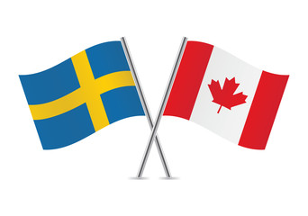 Canadian and Swedish flags. Vector illustration.