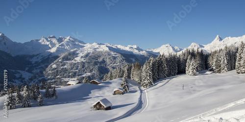 canvas print picture Winterurlaub in den Bergen