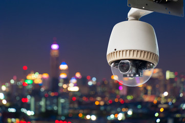 CCTV or surveillance with Blurring City in background