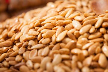 Fried almonds background.