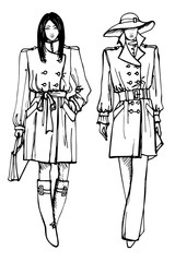 Two stylish lovely girls. Fashion sketch vector