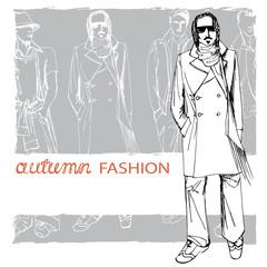 Stylish autumnal dude on grunge background.Fashion vector