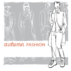 Stylish autumnal dude on grunge background.Fashion illustration
