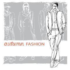 Stylish autumnal dude on grunge background. Fashion illustration