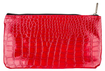 red cosmetic bag isolated on white background