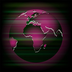 Abstract dark purple background with globe