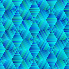Ornamental Hexagonal Blue And Green Pattern