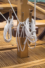 Tied ropes on a sailboat