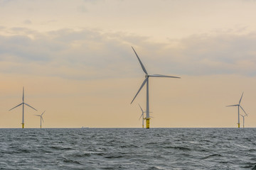 Offshore wind farm during sunset