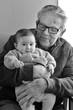 Great Granddad hug his great grandchild