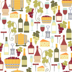 seamless pattern with wine icons