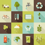 Fototapety set of flat ecology icons with shadows