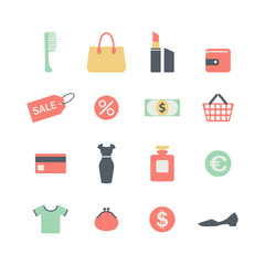 set of flat shopping icons