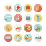 set of round healthy life icons