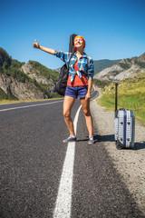 Girl hitchhiking