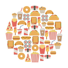 round design element with fast food icons
