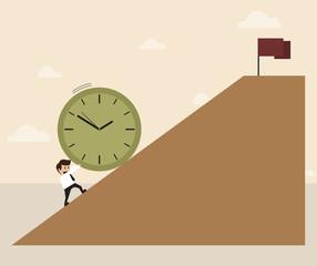 businessman is pushing big clock up hill