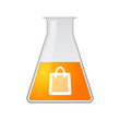 Chemical test tube with a shopping bag
