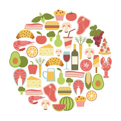 summer food festival. round design element with food icons