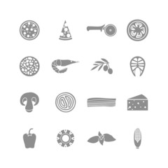 set of monochrome pizza icons