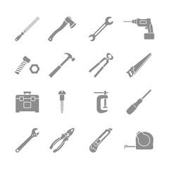 set of monochrome tools icons