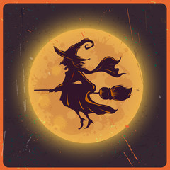 Halloween background with silhouette witch against moon vintage