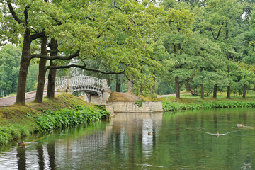 Landscape with old bridge over water in the park