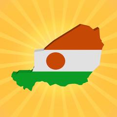 Niger map flag on sunburst illustration